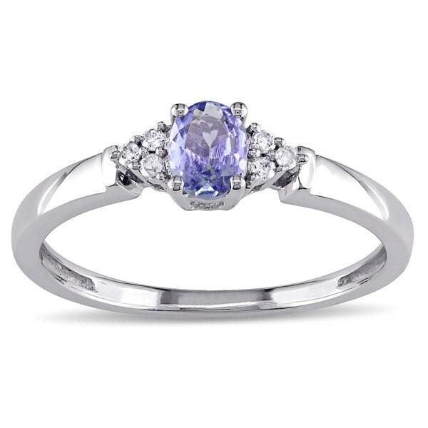 Miadora 10k White Gold Oval-cut Tanzanite and Diamond Accent Ring