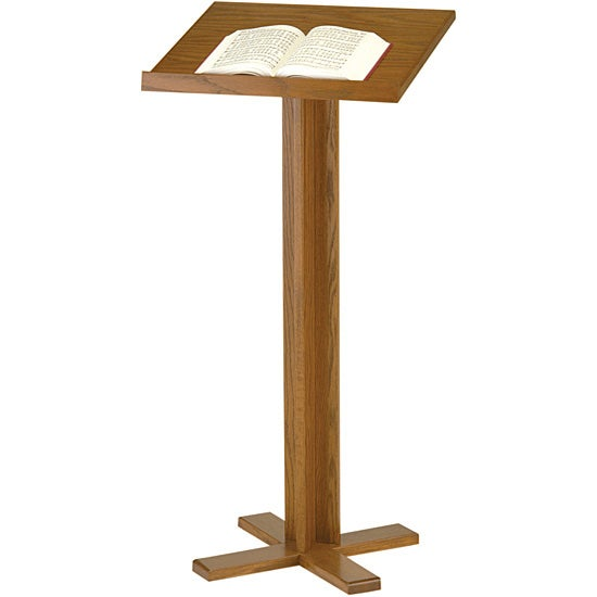 Balt Cross Base Solid Oak Lectern for Conference or Classroom Use