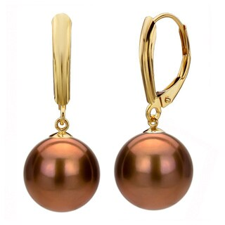 DaVonna 14k Yellow Gold Brown FW Pearl Leverback Earrings (9-9.5 mm)