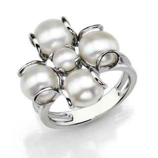 Sterling Silver Freshwater Pearl Flower Ring (7.5-8 mm)
