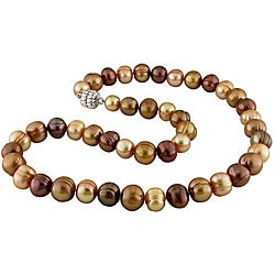 Miadora Sterling Silver Multi-color Pearls Brown FW Pearl Necklace (9.5-10 mm)