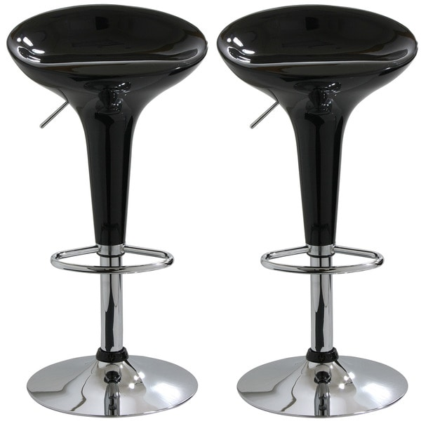 Black Molded Fiberglass Barstools Set Of 2 11340601