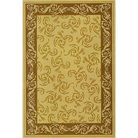Scroll Indoor/Outdoor Brown Area Rug (5'3 x 7'6)