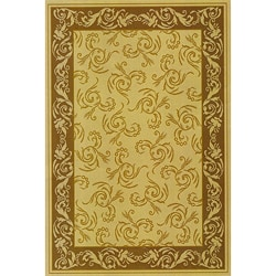 Scroll Indoor/Outdoor Brown Area Rug (5'3 x 7'6)