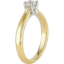 Miadora 14k Gold 1/4ct TDW Diamond Crossover Solitaire Engagement Ring (H-I, I1-I2)