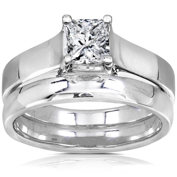 Annello 14k Gold 5/8ct Princess Diamond Bridal Set (GH, I1-I2)