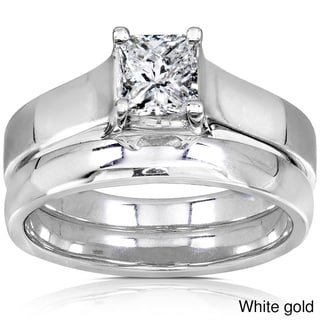 Annello 14k Gold 5/8ct Princess Diamond Bridal Set (GH, I1-I2)