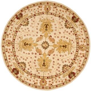 Handmade Oushak Ivory Wool Rug (8' Round)