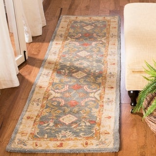 Handmade Legacy Light Blue Wool Runner (2&#39;3 x 8&#39;)