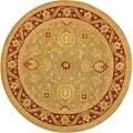 Handmade Kashan Green/ Red Wool Rug (4' Round)