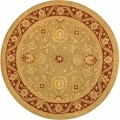 Handmade Kashan Green/ Red Wool Rug (6' Round)
