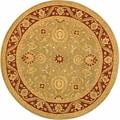 Handmade Kashan Green/ Red Wool Rug (8' Round)