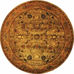 Handmade Antiquities Kasadan Olive Green Wool Rug (6' Round)