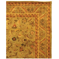 Handmade Antiquities Kasadan Olive Green Wool Rug (8'3 x 11')