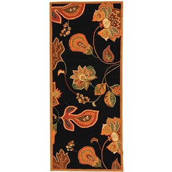 Hand-hooked Autumn Leaves Black/ Orange Wool Runner (2'6 x 12')