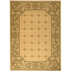 "Safavieh Geometric Indoor/Outdoor Beaches Natural/Olive Rug (5'3"" x 7'7"")"