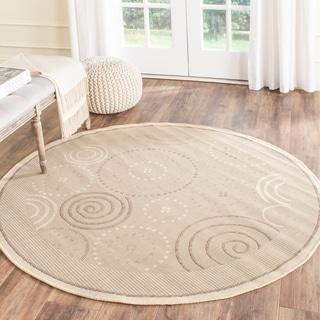 Safavieh Indoor/ Outdoor Resort Natural/ Brown Rug (5'3 Round)