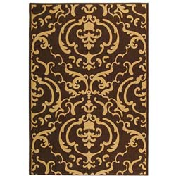 Indoor/ Outdoor Bimini Chocolate/ Natural Rug (6'7 x 9'6)