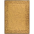 Indoor/ Outdoor Oasis Natural/ Brown Rug (6'7 x 9'6)