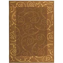 Indoor/ Outdoor Oasis Brown/ Natural Rug (6'7 x 9'6)
