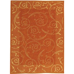 Indoor/ Outdoor Oasis Terracotta/ Natural Rug (4' x 5'7)
