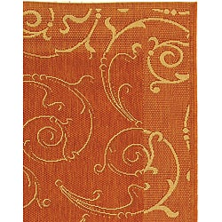 Indoor/ Outdoor Oasis Terracotta/ Natural Rug (5'3 x 7'7)