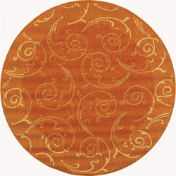 Safavieh Indoor/ Outdoor Oasis Terracotta/ Natural Rug (5'3 Round)