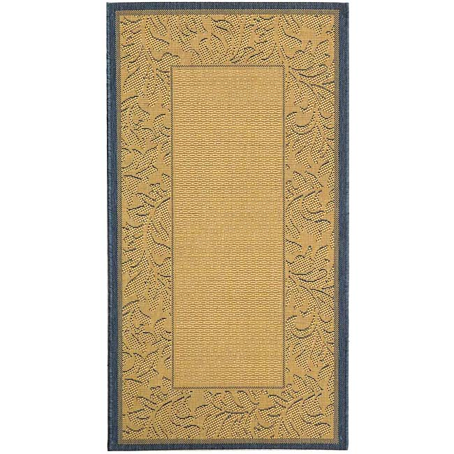 Safavieh Indoor/ Outdoor Paradise Natural/ Blue Rug (4' x 5'7)