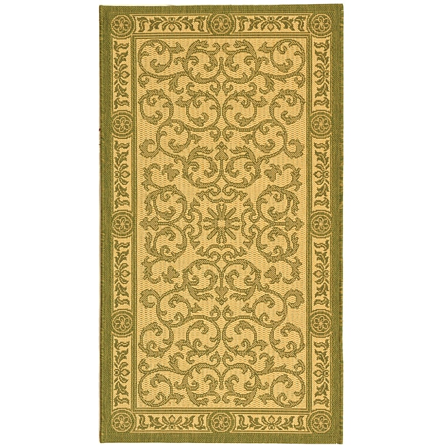 Safavieh Indoor/ Outdoor Beaches Natural/ Olive Rug (2'7 x 5')