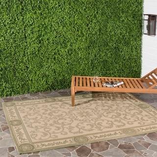 Safavieh Indoor/ Outdoor Beaches Natural/ Olive Rug (5'3 x 7'7)