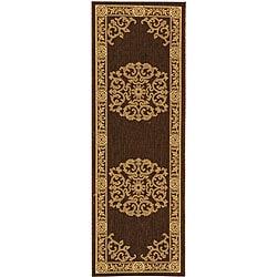 Safavieh Indoor/ Outdoor Sunny Chocolate/ Natural Runner (2'4 x 6'7)