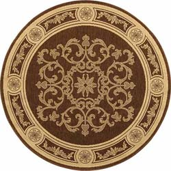 Safavieh Indoor/ Outdoor Sunny Chocolate/ Natural Rug (6'7 Round)