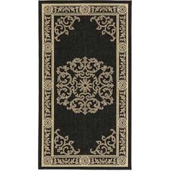 Indoor/ Outdoor Sunny Black/ Sand Runner (2' x 3'7)