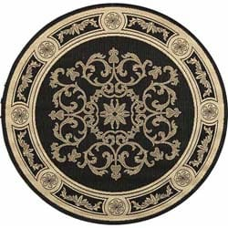Indoor/ Outdoor Sunny Black/ Sand Rug (5'3 Round)