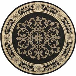 Indoor/ Outdoor Sunny Black/ Sand Rug (6'7 Round)