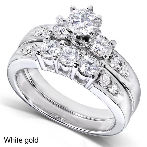 Annello 14k Gold 1 1/4ct TDW Diamond Bridal Ring Set (H-I, I1-I2)