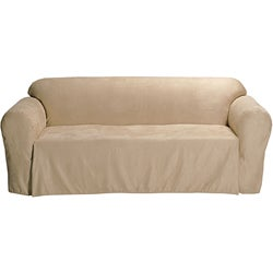Microsuede Solid Loveseat Drop Skirt Slipcover