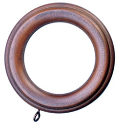 Ribbed Walnut Finish Wood Rings For 2 Inch Wood Pole Set Of 10 11341937