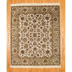 Indo Ivory/ Light Green Mahal Rug (8'2 x 10')