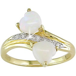 Miadora 10k Yelllow Gold Opal and Diamond Ring