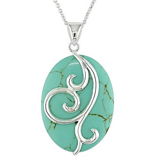 Miadora Sterling Silver Oval Turquoise Necklace