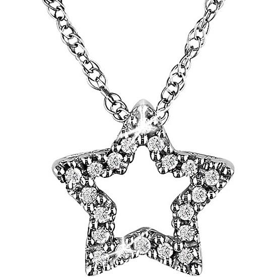 Miadora 10k White Gold Diamond Accent Star Necklace