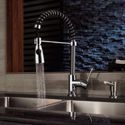 Kraus Single Lever Modern Spiral Chrome Pull-out Kitchen Faucet