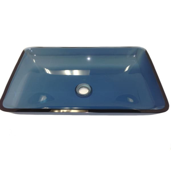 Atlantis Blue Tempered Glass Vessel Lavatory Sink