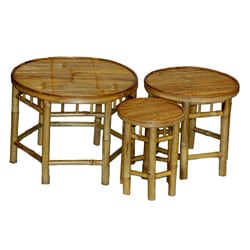 Bamboo Nesting 3-piece Round Table Set (China)