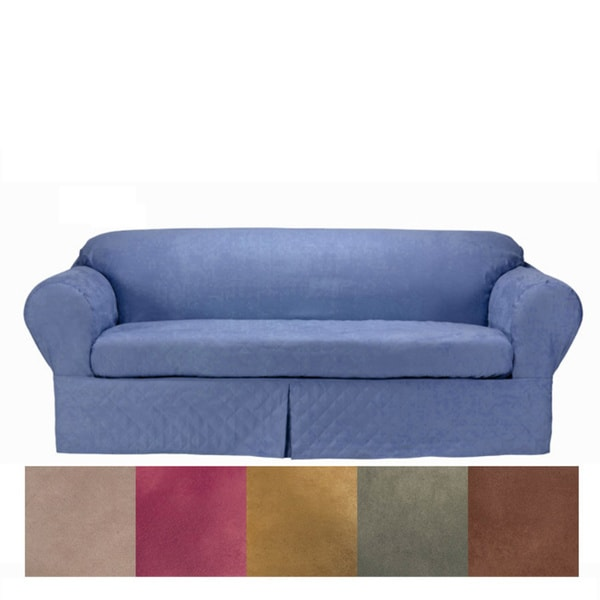 Classic Slipcovers Microsuede Quilted 2-piece Loveseat Slipcover