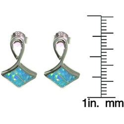 CGC Sterling Silver Fancy Lab Created Opal Earrings