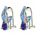 CGC Sterling Silver Created Opal and CZ Crossover Earrings