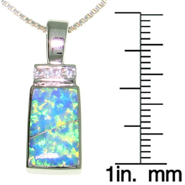 CGC Sterling Silver Created Opal and CZ Rectangle Necklace