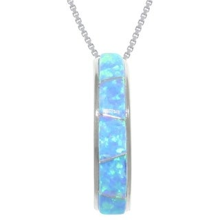 CGC Sterling Silver Lab Created Opal Half Moon Necklace